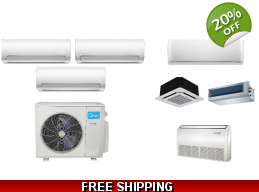 Midea 3 Zone 20.4 SEER Ductless Mini Split Heat Pump Air Conditioner